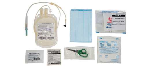 Cord blood stem cell collection kit